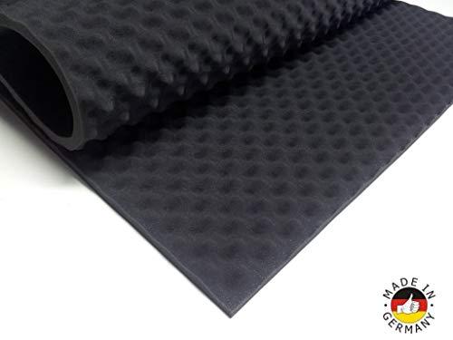 Akoestisch schuim als akoestisch noppenschuim plaat 200 x 100 x 3 cm (antraciet/zwart) van hoogwaardig PUR-schuim tas, koffer