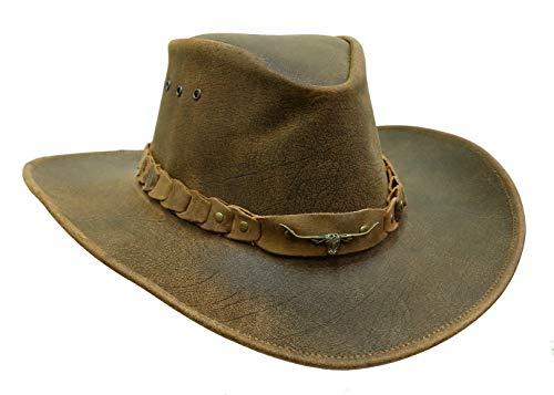 Kakadu Traders Cowboy-Hut | Lederhut Brumby in braun mit formbarer Krempe und Longhorn Hutband | Made in Australia