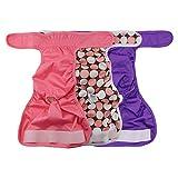 Alumuk 3er Pack Einstellbare und Waschbare Hundewindeln Hund Hygieneunterhose mit Magictape Hundeschutzhose für Hündinnen