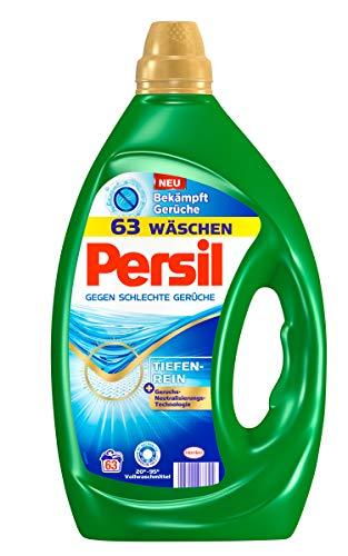 Persil Gel gegen schlechte Gerüche, Flüssigwaschmittel, 126 (2 x 63) Waschladungen mit Geruchsneutralisierungs-Technologie