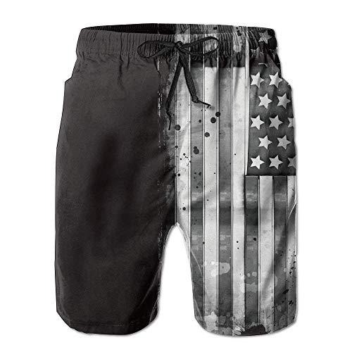 LarissaHi Herren Grunge Metal USA Flagge Sommer Urlaub Badehose Strand Shorts Board Shorts M