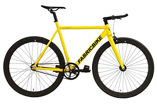 FabricBike- Bicicleta Fixed, Fixie, Single Speed, Cuadro y Horquilla Aluminio, Ruedas 28', 4 Colores, 3 Tallas, 9.45 kg Aprox. (Light Matte Yellow, L-58cm)