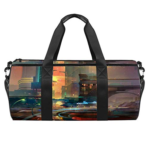 TIZORAX Fantasy The City Of The FutureGym Duffel Sports Bags Canvas Travel Bag with Waterproof Pocket