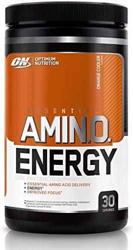 Optimum Nutrition ON Amino Energy Pre Workout Booster, Zuckerfrei Energy Drink Pulver mit Beta Alanin, Vitamin C, Koffein, Aminosäuren, Orange Cooler, 30 Portionen, 270g, Verpackung kann Variieren