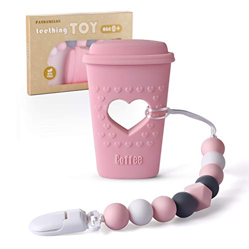 Baby Teething Toys, Coffee Cup Teether with Pacifier Clip Holder Kit, for Newborn Infants, BPA Free Silicone, for Boy/Girl, by Pandamelon (Pink)