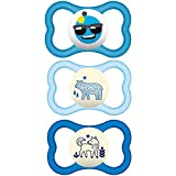 MAM Sensitive Skin Pacifiers, Baby Pacifier 6+ Months, Best Pacifier for Breastfed Babies, Air Night & Day' Design Collection, Boy, 3Count, Multi