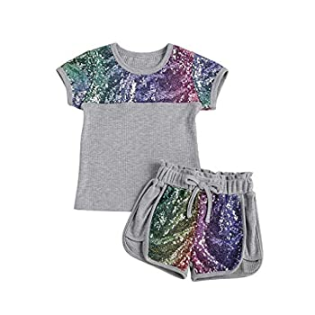 Toddler Kids Baby Girl 2Pcs Clothes Short Sleeve Heart Print T-Shirt Tops Sequin Elastic Shorts Girls Summer Outfits Sets  Gray 6-7 Years