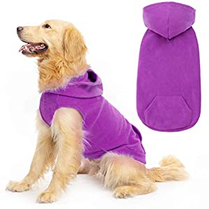 EXPAWLORER Fleece Dog Clothes with Pocket, Cold Weather Spring Vest Sweatshirt Hoodie with O-Ring, Purple XL