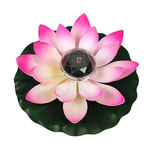XIYAO Künstliches Lotus Schwimmlicht, Solar Power LED Schwimmendes Lotus Blumengarten Pool Teichlicht