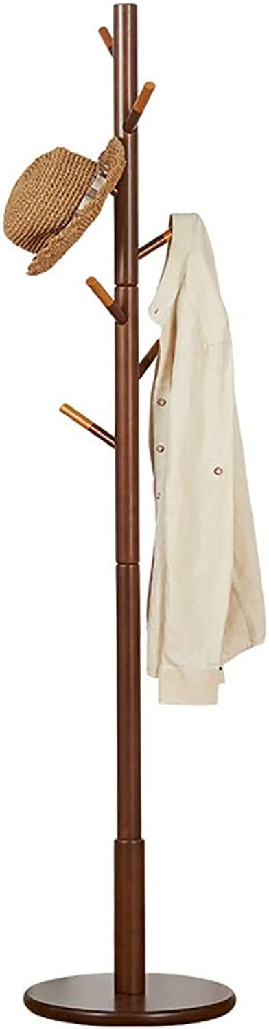 MEETA- Retro 6 Hooks Free Standing Sturdy Wood Entryway Coat Rack Hat Hanger Hall with Round Base for Clothes, Scarves,Handbags (color   Brown)
