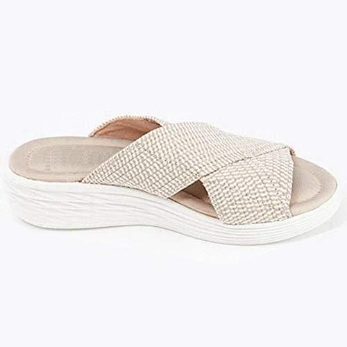 Sandalias elásticas cruzadas ortopédicas para mujer, sandalias de playa, cómodas y de apoyo, sandalias ligeras diseñadas (4 colores) - Beige_9