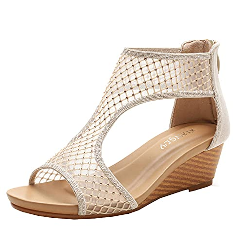 QRTY Sandalias de Cuña para Moda Mujer, Cómoda Malla Casual Sandalias Mujer Plataforma