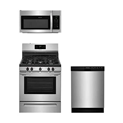 """Frigidaire 3-Piece Stainless Steel Kitchen Package with FFGF3054TS 30"""" Freestanding Gas Range, FFMV1645TS 30"""" Over-the-Range Microwave and FFBD2412SS 24"""" Full Console Dishwasher"""