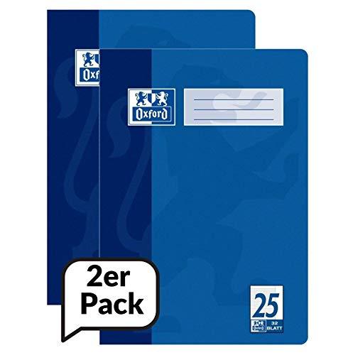 Oxford 100050311 Hefte A4 Liniert mit Rand, Lineaur 25, blau, 16 Blatt, 2er Pack