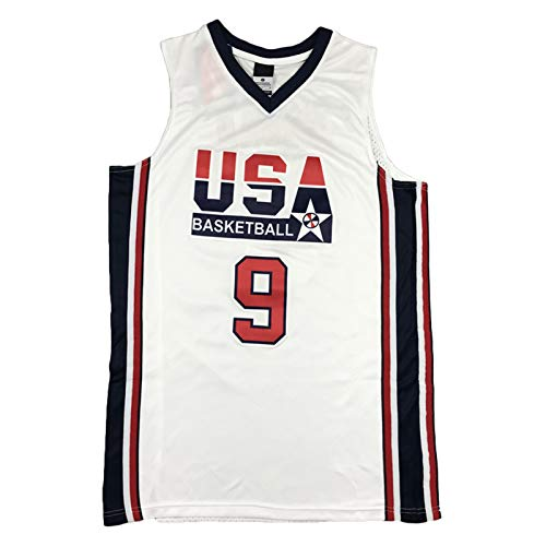 QJV Jordan Jersey, USA Basketball T-Shirt, Dream Team City Edition Jersey Mesh Personalized Sweatshirt Sleeveless Sportswear Unisex (S-XXL) White-L