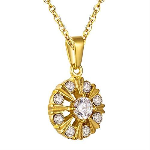 nobranded Runde kubische Zirkon Anhänger Halskette Edelstahl Gold/Stahlhalsbänder Halsband Halsketten Gold