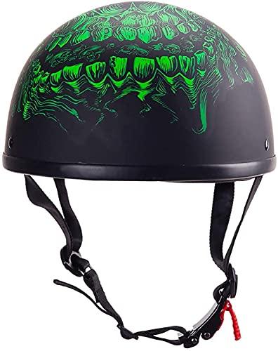 BDTOT Gorro Medio Casco Motocicleta, Casco Retro Cara Abierta para Motocicleta, ECE HomologadoMedio Casco Jet Style Bike Cruiser Chopper CiclomotorJet-Helmet