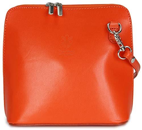 Belli italienische Ledertasche Damen Umhängetasche Handtasche Schultertasche - 17x16,5x8,5 cm (B x H x T) (Orange)