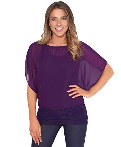 Blusas Camisas Mujer Elegante Grande Top Bonita Fiesta Transparente Juvenil Tallas Grandes Fiesta Moda, (Morado (3559), 36 EU (08 UK)), 3559-PUR-08