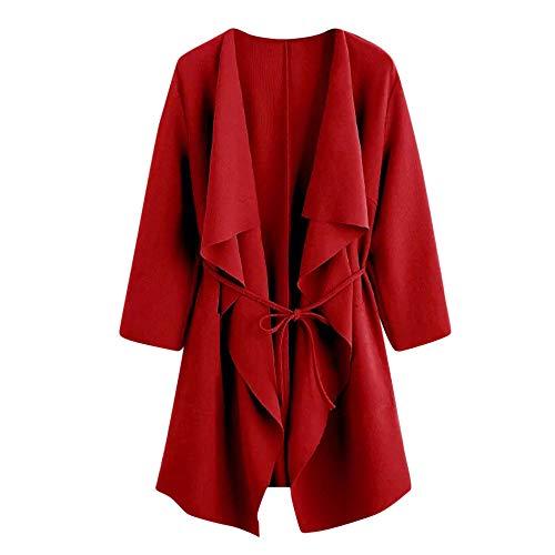 Bumplebee Revers Oberteile Damen Elegant Mantel Herbst Schwarz Lässige Einfarbig Trenchcoat Cardigan Mantel mit Verband Mode Elegant Langarm Übergangsjacke Damen Overcoat Outwear Coat Jacke