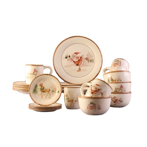 American Atelier Christmas Twig 20 Piece Dinnerware Set, Cream
