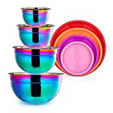 AlwaysU Rainbow Mixing Bowls with Lid Set 4 Piece Stainless Steel Salad Nesting Bowl for Chef Prep Cooking Baking Kitchen Food Preparation Fruit Serving Storage Colorful Bowl 1.47 2.64 4.33 6.87 Qt