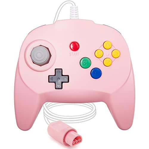 [Nueva versión] para controlador N64, mando de juego para N64 – Plug & Play (versión USB no PC) (Joystick del Japón), color rosa