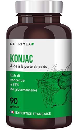 PUR KONJAC - 95% glucomannanes - Coupe faim - Complément alimentaire minceur et perte de poids - Detox - Régulation du taux de sucre - 90 gélules végétales - Fabriqué en France
