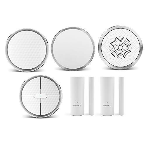 SMANOS K1 SmartHome Starter Kit   Sistema de Alarma Wifi para el Hogar, Alarma Contra Robo en el Hogar, Sensor de Movimiento para Puerta, Aplicación Compatible con Alexa y Google