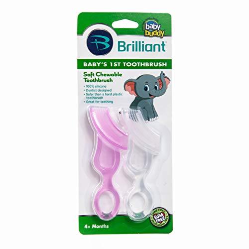 Baby Buddy Lot de 2 brosses à dents pour bébé - Système innovant de soins bucco-dentaires en 6 étapes qui grandit avec votre enfant - Étape 4 pour bébés/tout-petits - Les enfants les adorent, rose