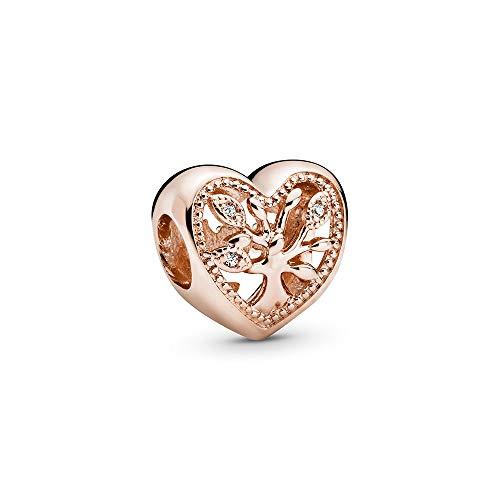Pandora Offen gearbeitetes Stammbaum Herz-Charm, 788826C01, Rosé, 1,1cm