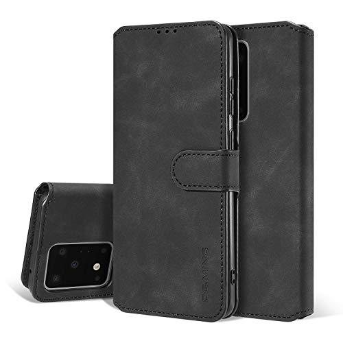 Handyhülle, Flipcase für Samsung Galaxy S20-Serie, hochwertig, Vintage-Stil, Leder-Hülle mit [Kartenfächern] [Standfunktion] [Magnetverschluss], Samsung Galaxy S20 Ultra, schwarz