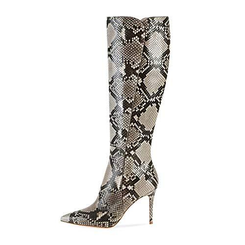 XER dameslaarzen van PU met puntige band en elastische hak en Overknee-laarzen maat 34-46 voor kostuumfeesten