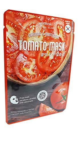 2 Mask sheets of Watsons Energising & Moisturising Tomato Mask. Free from Parabens, Alcohol & Colourants. Bamboo Fabric Mask Sheet. Made in Korea. (30 Ml Essence/sheet)