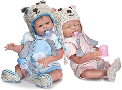 2PCS Reborn Baby Dolls Twins Silicone Full Body Boy and Girl Realistic Look Weighted Washable Bath Babies Sleeping and Awake Dolls for Adults Collectibles