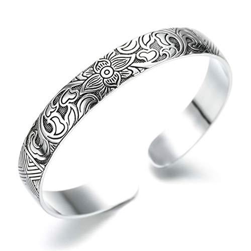 Joyería de plata esterlina Lotus retro hoja de plata pulsera negra Hombres Mujeres Nueva joyería moda retroBrazaletes