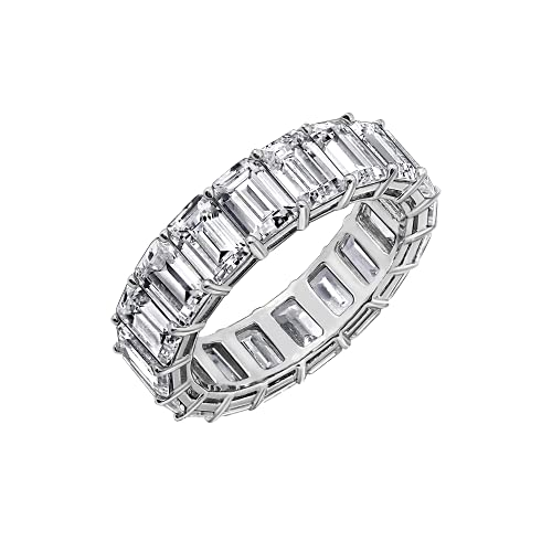 DIAMONBLISS Rhodium or 14K Gold Clad Sterling Silver Cubic Zicornia Emerald Cut Eternity Band Ring (White, 6)