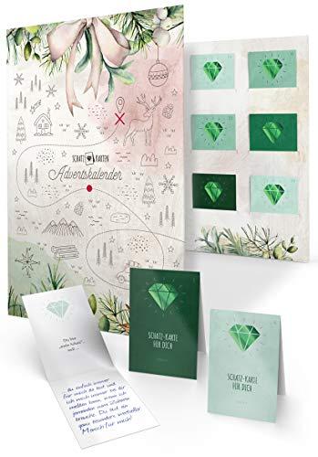 Schatz-Karten Adventskalender zum Ausfüllen für Erwachsene als Geschenk, 24 persönliche Botschaften, DIY Mappe zum Befüllen und Verschenken für Mutter Vater Schwester Bruder Oma (Edition Familie)