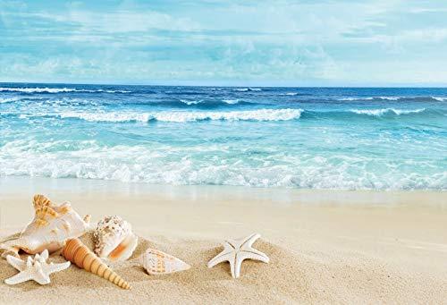 Verano Tropical Mar Playa Arena Estrella de mar Concha Coral Palmas Árbol Niño Vacaciones Foto Fotografía Telón de Fondo Estudio fotográfico A10 5x3ft / 1.5x1m