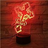 3D led luz de noche Cruz de jesus 7 color dormitorio lámpara decoración del hogar, regalo de Navidad para niños