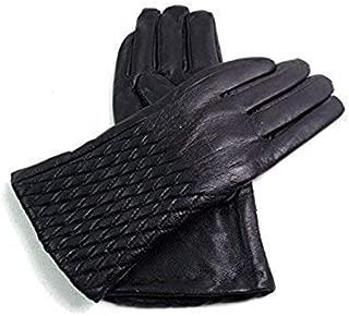 Ladies Real Leather Diamond Detail Gloves