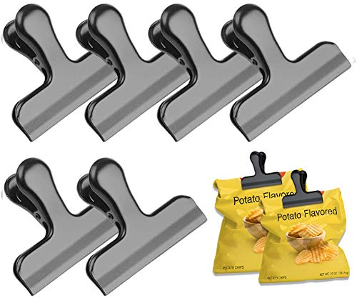 Black Chip Bag Clips 3 Inches Wide Stainless Steel Heavy Duty Chip Clips for Bag Great for Air Tight Seal Grip on Coffee Food Bags Kitchen Home Office Usage Set of 6