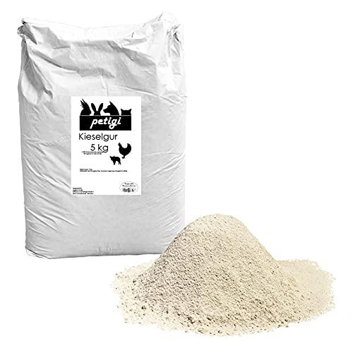Petigi Kieselgur Pulver Puder 5 kg Kieselerde Naturprodukt Einstreu Hühner Wachteln Kaninchen Hund Katze Pferd Hygiene im Stall oder Silo Schwein