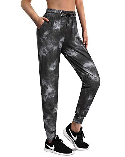 Promover Pantalons de Sport Yoga Joggers pour Femmes Taille Elastique Workout Running Pantalons de Survêtement Buttery Soft Drawstring Tapered Lounge Pants