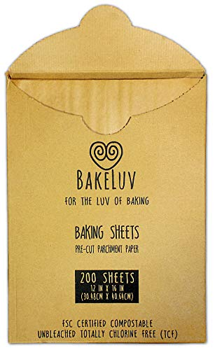 BakeLuv Parchment Paper for Baking Sheets 12x16 Inches | Brown 200 Pcs | PreCut Non-Stick Unbleached | Ideal for Half Sheet Baking Pan | 266 Sq. Ft. Equivalent