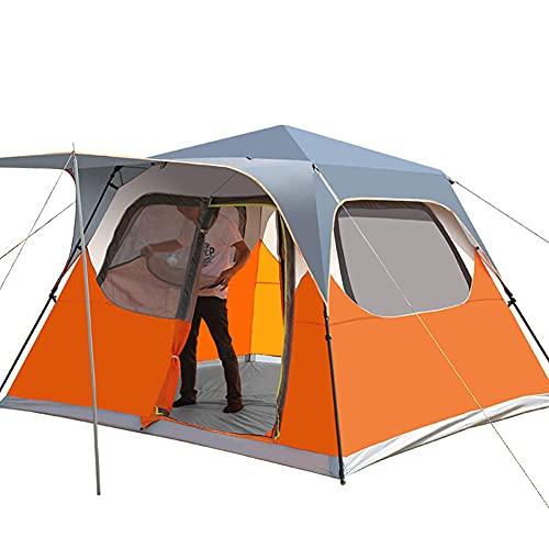Tienda de campaña familiar para 5 – 8 personas, tienda de campaña automática, plegable, doble capa, con porche, para senderismo, pesca al aire libre, color naranja, tamaño: 5