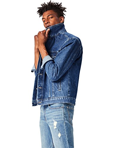 find. Standard Men's Classic Denim Trucker Jacket, Blue (Dark) M