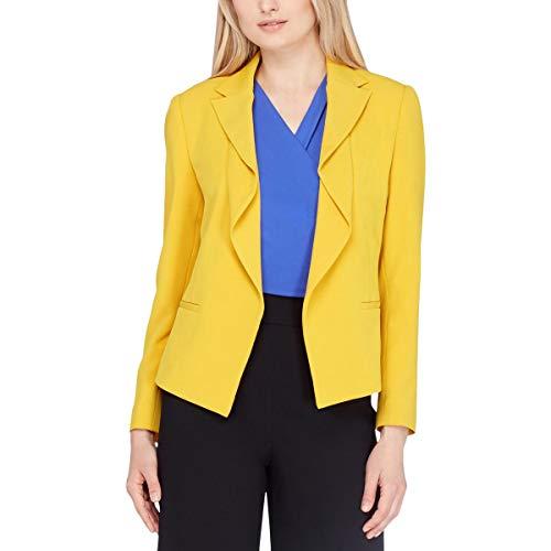 Tahari ASL Womens Missy Drapey Suit Separates Open-Front Blazer Yellow 2