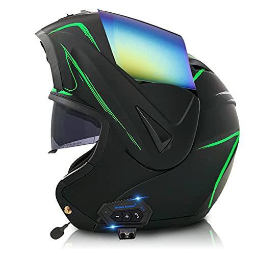 LIRONGXILY Casco Moto Modular Casco Moto Modular con Bluetooth Integrado Casco Integral con Doble Visera ECE Homologado Casco de Moto para Hombre o Mujer (Color : B, Size : 57-58(M))