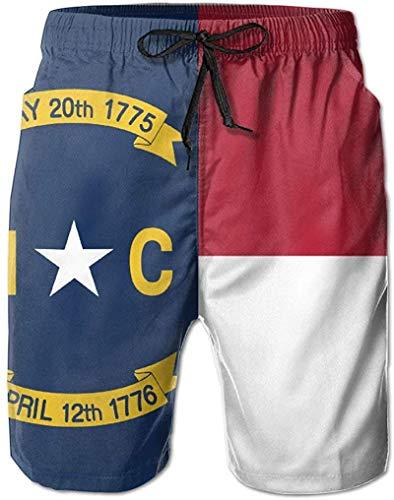 Flag of North Carolina Bañador de Verano para Hombre, de Secado rápido, Informal, con Tabla de Playa, Pantalones Cortos Tipo Cargo